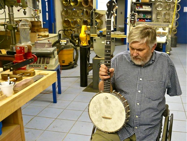 Bill Rickard and his banjos